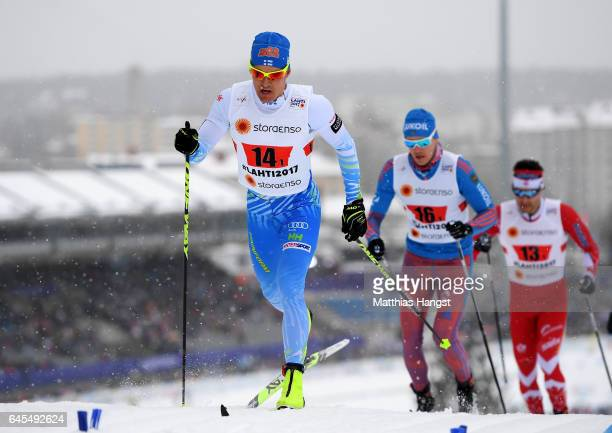 Sami Jauhojaervi of Finalnd competes in the Men's and Women's Cross Country Team Sprint during the FIS Nordic World Ski Championship on February 26...