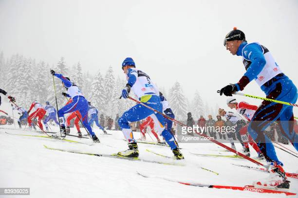 Sami Jauhojaervi of Finland takes 33th place in FIS Cross Country World Cup Men 30KM Free Mass Start on December 6 2008 in La Clusaz