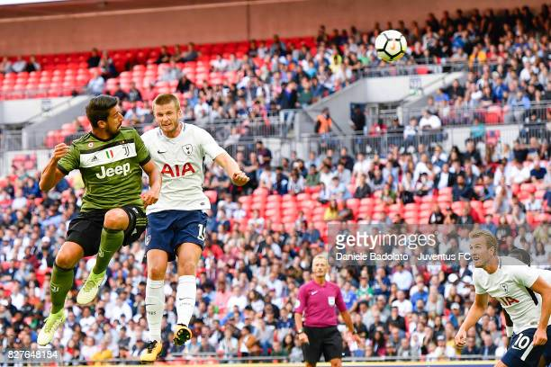 Sami Khedira and Eric Dier during the Tottenham Hotspur v Juventus PreSeason Friendly match at Wembley Stadium on August 5 2017 in London England