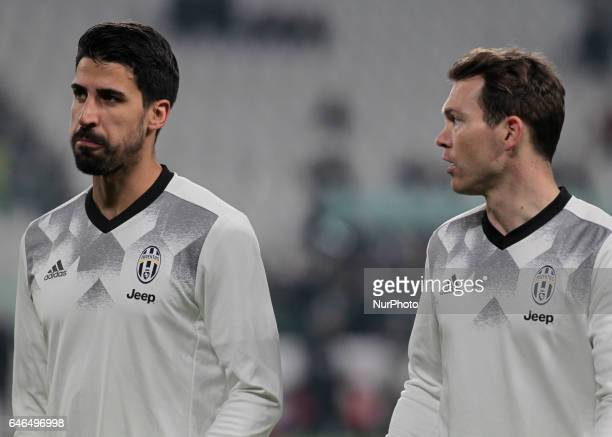 Sami Khedira and Stephan Lichtsteiner during Tim Cup 2016/2017 match between Juventus v Napoli in Turin on February 28 2017