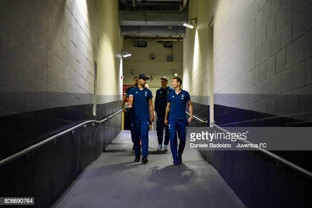 Sami Khedira and Stephan Lichtsteiner of Juventus arrival before the International Champions Cup 2017 match between AS Roma and Juventus at Gillette...