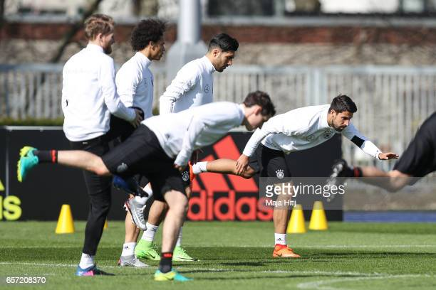 Sami Khedira and the team are seen during training of German national team ahead of the FIFA World Cup qualification match 2018 against Azerbaijan on...