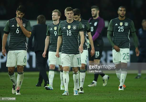 Sami Khedira and Toni Kroos of Germany are looking dejected after loosing the International Friendly match between Germany and England at...