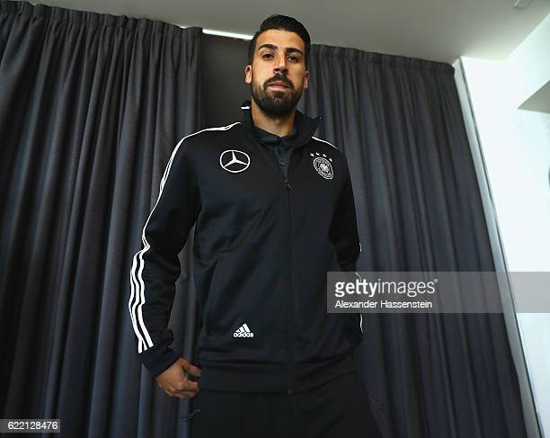 Sami Khedira arrives for a press conference of the German national team ahead of the FIFA 2018 World Cup qualifying group C match against San Mariono...