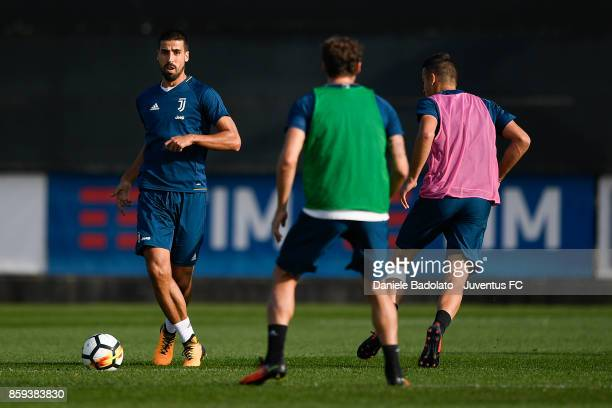 Sami Khedira during a Juventus training session on October 9 2017 in Vinovo Italy