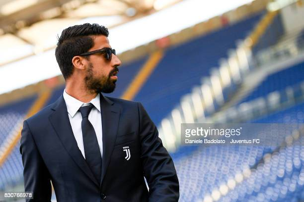 Sami Khedira during the Juventus Walk Around ahead of the Italian Supercup at Olimpico Stadium on August 12 2017 in Rome Italy