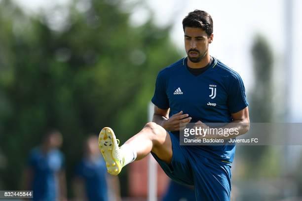 Sami Khedira during the morning training session at Juventus Center Vinovo on August 16 2017 in Vinovo Italy