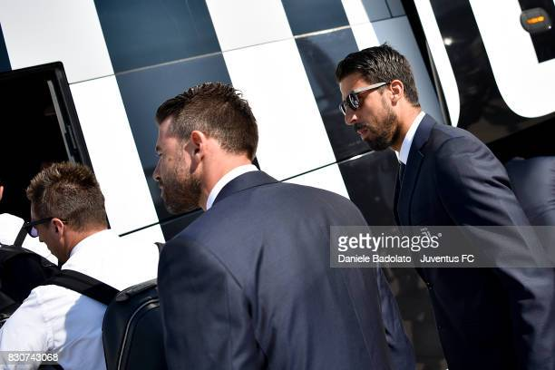 Sami Khedira during the travel to Rome ahead of the Italian Supercup at on August 12 2017 in Turin Italy