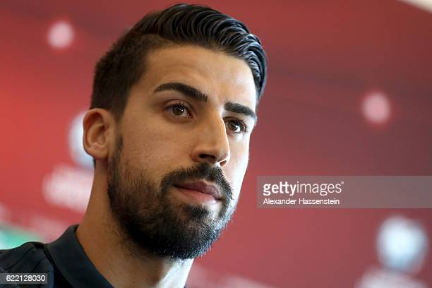 Sami Khedira looks on during a press conference of the German national team ahead of the FIFA 2018 World Cup qualifying group C match against San...