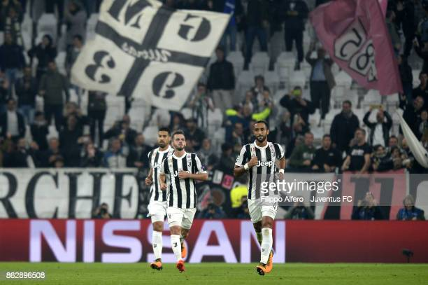 Sami Khedira Miralem Pjanic and Medhi Benatia of Juventus during the UEFA Champions League group D match between Juventus and Sporting CP at Allianz...