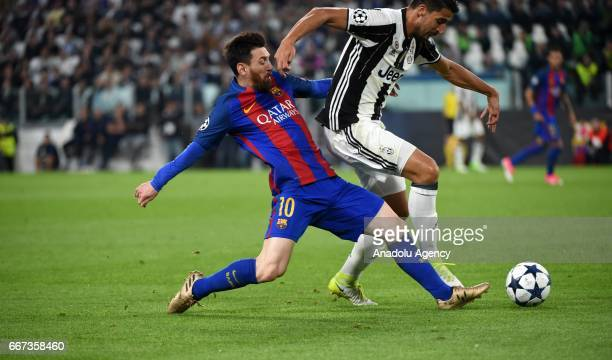 Sami Khedira of FC Juventus in action against Lionel Messi of Barcelona during the UEFA Champions League Round of 4 first leg match between FC...
