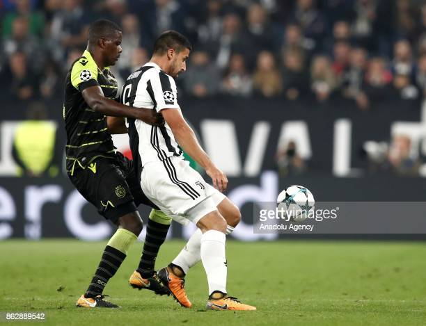 Sami Khedira of FC Juventus in action against William Carvalho of Sporting SP during the UEFA Champions League group D football match between FC...