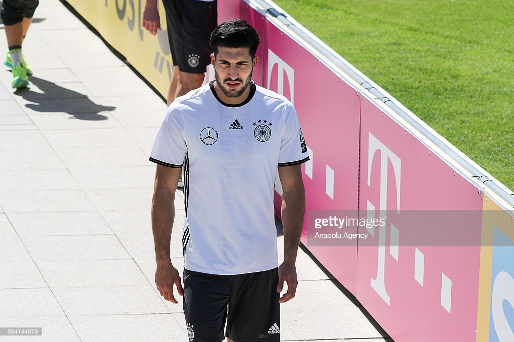 Sami Khedira of German National Football Team attends a training session at Lago Maggiore in Ascona, Switzerland on May 25, 2016. Germany's national soccer preparing for the upcoming UEFA EURO 2016 to be held in France in a training camp in Ascona, Switzerland, until 03 June.
