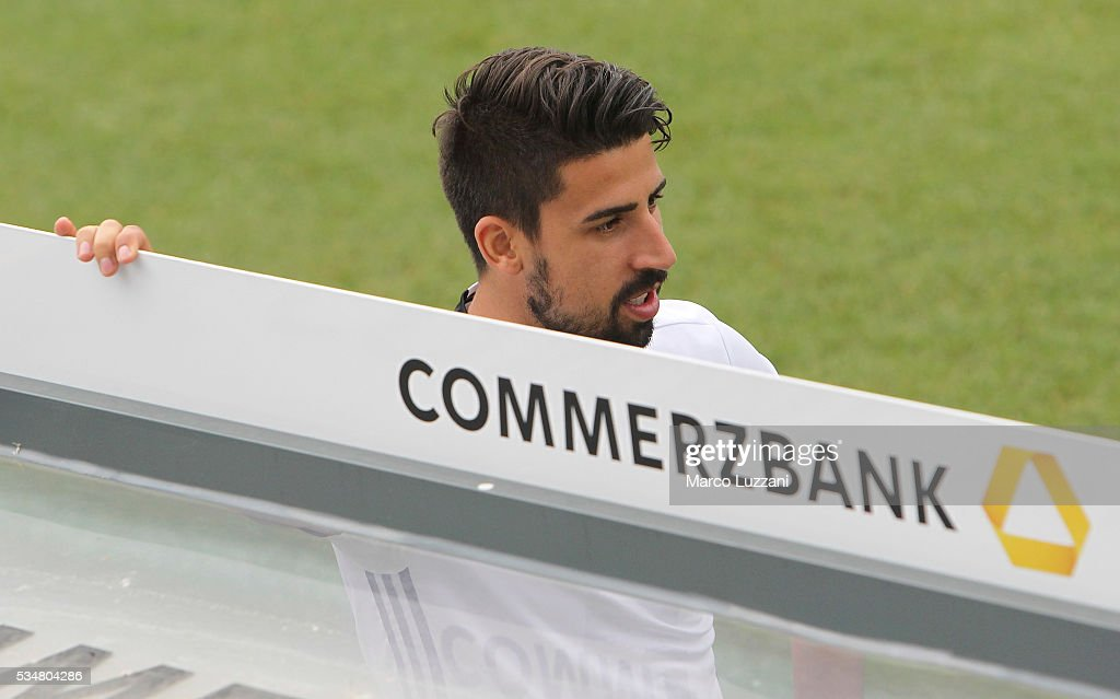 <a gi-track='captionPersonalityLinkClicked' href=/galleries/search?phrase=Sami+Khedira&family=editorial&specificpeople=2513712 ng-click='$event.stopPropagation()'>Sami Khedira</a> of Germany looks on before the German national team's pre-EURO 2016 training camp on May 28, 2016 in Ascona, Switzerland.