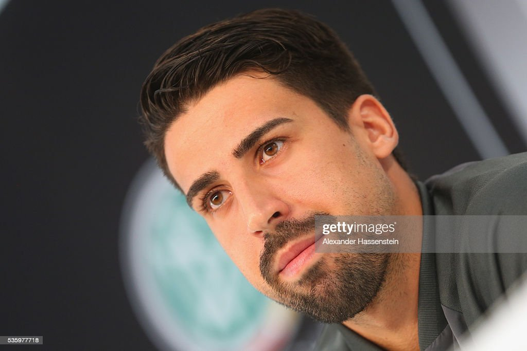 <a gi-track='captionPersonalityLinkClicked' href=/galleries/search?phrase=Sami+Khedira&family=editorial&specificpeople=2513712 ng-click='$event.stopPropagation()'>Sami Khedira</a> of Germany looks on during a press conference on day 8 of the German national team trainings camp on May 31, 2016 in Ascona, Switzerland.