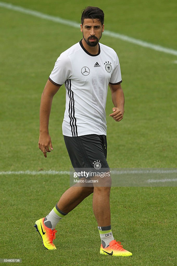 <a gi-track='captionPersonalityLinkClicked' href=/galleries/search?phrase=Sami+Khedira&family=editorial&specificpeople=2513712 ng-click='$event.stopPropagation()'>Sami Khedira</a> of Germany looks on during the German national team's pre-EURO 2016 training camp on May 28, 2016 in Ascona, Switzerland.