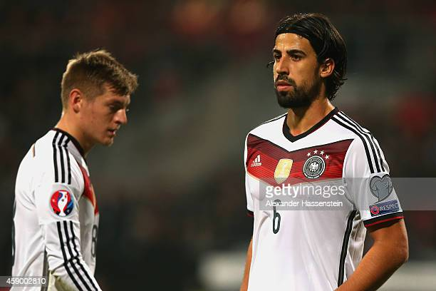 Sami Khedira of Germany looks on with his team mate Toni Kroos during the EURO 2016 Group D Qualifier match between Germany and Gibraltar at Grundig...