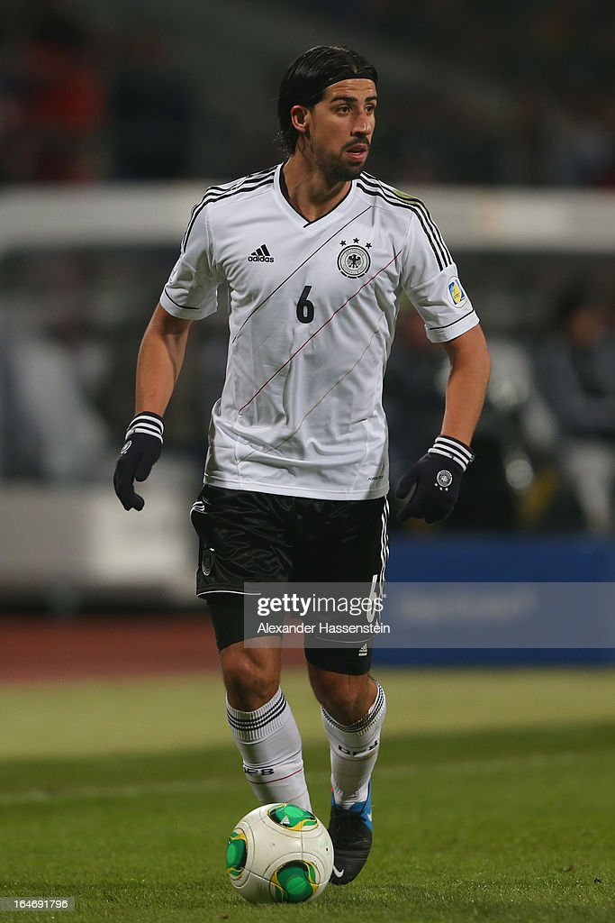 Sami Khedira of Germany runs with the ball during the FIFA 2014 World Cup qualifier group C match between Germany and Kazakhstan at Gundig-Stadion on March 26, 2013 in Nuremberg, Germany.