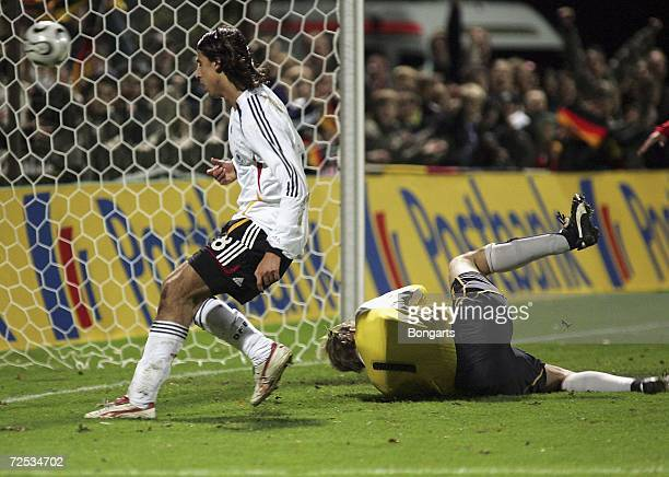 Sami Khedira of Germany scores to lead 31 against Marco Knaller goalkeeper of Austria during the Men's U20 international friendly match between...