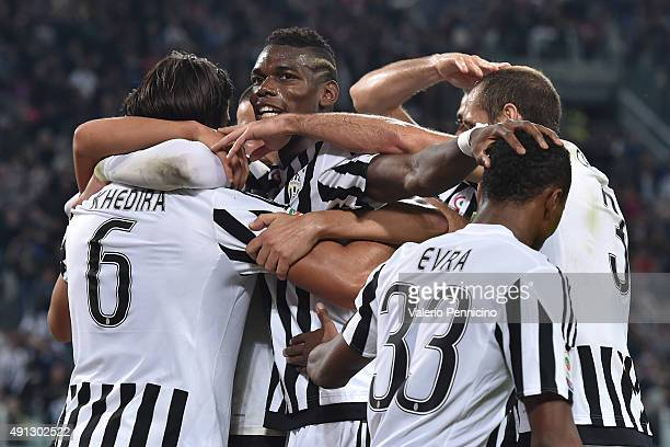 Sami Khedira of Juventus FC celebrates a goal with team mates during the Serie A match between Juventus FC and Bologna FC at Juventus Arena on...