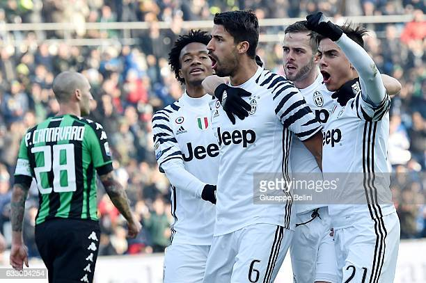 Sami Khedira of Juventus FC celebrates after scoring the goal 02 during the Serie A match between US Sassuolo and Juventus FC at Mapei Stadium Citta'...