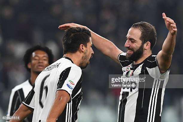 Sami Khedira of Juventus FC celebrates after scoring the opening goal with team mate Gonzalo Higuain during the Serie A match between Juventus FC and...
