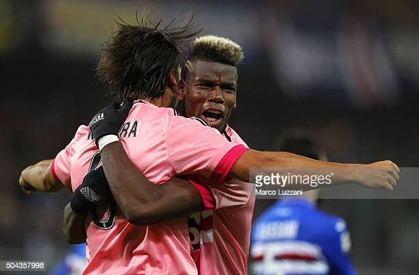 Sami Khedira of Juventus FC celebrates his goal with his teammate Paul Pogba during the Serie A match between UC Sampdoria and Juventus FC at Stadio...
