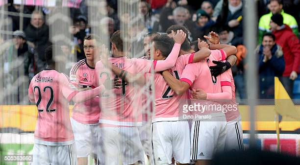 Sami Khedira of Juventus FC celebrates with team mates after scoring during the Serie A match between Udinese Calcio and Juventus FC at Stadio Friuli...