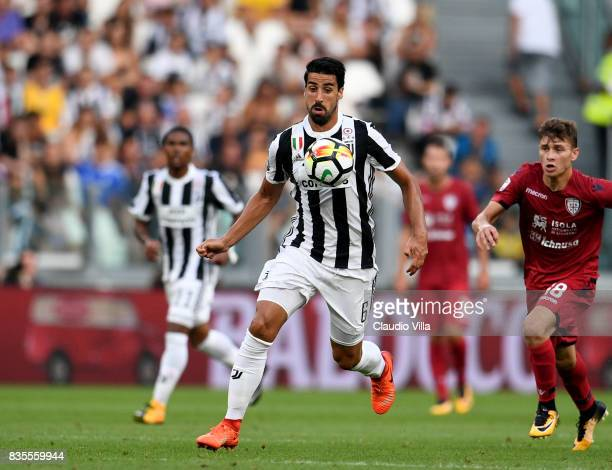 Sami Khedira of Juventus FC in action during the Serie A match between Juventus and Cagliari Calcio at Allianz Stadium on August 19 2017 in Turin...