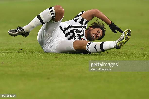 Sami Khedira of Juventus FC reacts during the Serie A match between Juventus FC and AS Roma at Juventus Arena on January 24 2016 in Turin Italy