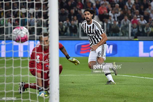 Sami Khedira of Juventus FC scores a goal during the Serie A match between Juventus FC and Bologna FC at Juventus Arena on October 4 2015 in Turin...