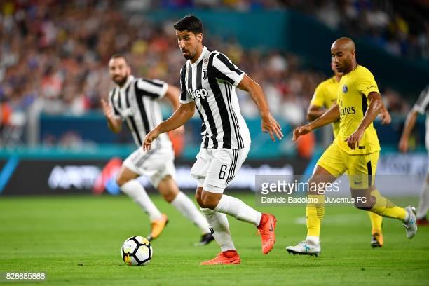 Sami Khedira of Juventus in action during the International Champions Cup 2017 match between Paris Saint Germain and Juventus at Hard Rock Stadium on...