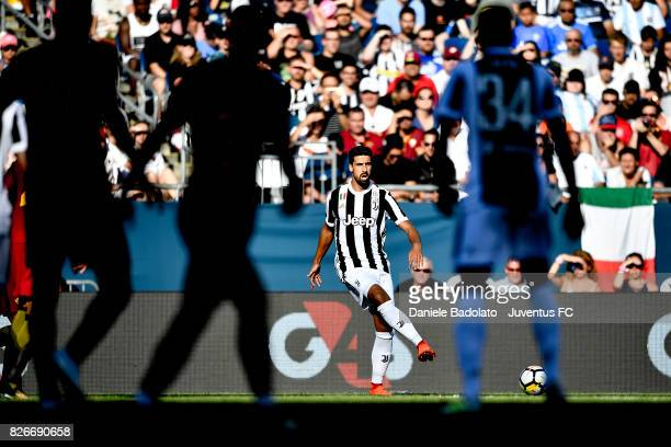 Sami Khedira of Juventus in action during the International Champions Cup 2017 match between AS Roma and Juventus at Gillette Stadium on July 30 2017...