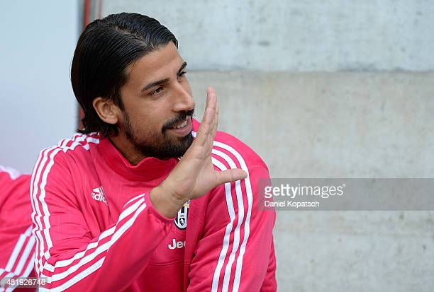 Sami Khedira of Juventus looks on prior to the friendly match between Juventus and Borussia Dortmund on July 25 2015 in St Gallen Switzerland