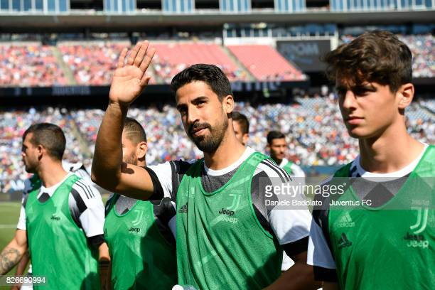 Sami Khedira of Juventus waves to supporters at the International Champions Cup 2017 match between AS Roma and Juventus at Gillette Stadium on July...