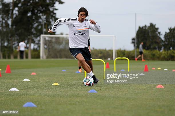 Sami Khedira of Real Madrid exercises during a recovery session on March 25 2014 in Sciacca Italy