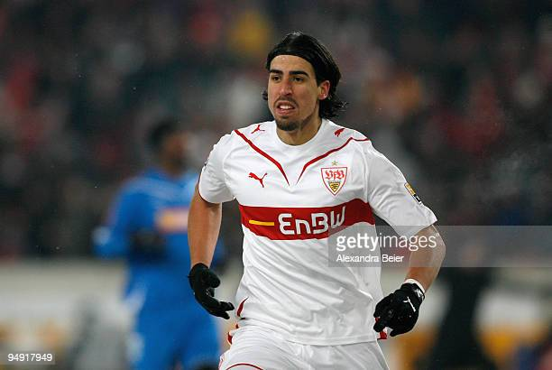 Sami Khedira of Stuttgart reacts after his goal during the Bundesliga soccer match between VfB Stuttgart and 1899 Hoffenheim at MercedesBenz Arena on...