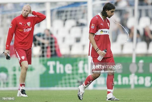 Sami Khedira of Stuttgart spits water after the lost Bundesliga match between Karlsruher SC and VFB Stuttgart at the Wildpark Stadium on September 2...