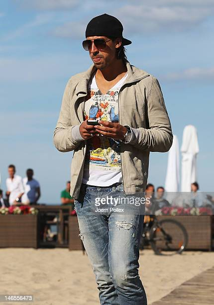 Sami Khedira of the German national team is sighted at a beachbar at the beach on June 19 2012 in Sopot Poland