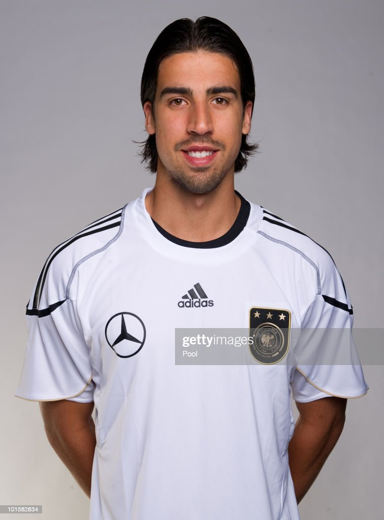 <a gi-track='captionPersonalityLinkClicked' href=/galleries/search?phrase=Sami+Khedira&family=editorial&specificpeople=2513712 ng-click='$event.stopPropagation()'>Sami Khedira</a> poses during the official team photocall of the German FIFA 2010 World Cup squad on June 3, 2010 in Frankfurt am Main, Germany.