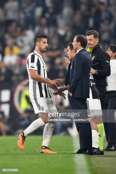 Sami Khedira substituted by Paulo Dybala during the Serie A match between Juventus and SS Lazio on October 14 2017 in Turin Italy