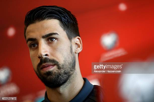 Sami Khedira talks to the media during a press conference of the German national team ahead of the FIFA 2018 World Cup qualifying group C match...