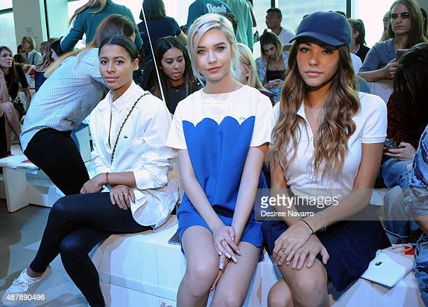 Sami Miro Amanda Steele and Madison Beer attend Lacoste Front Row Backstage Spring 2016 New York Fashion Week at Spring Studios on September 12 2015...
