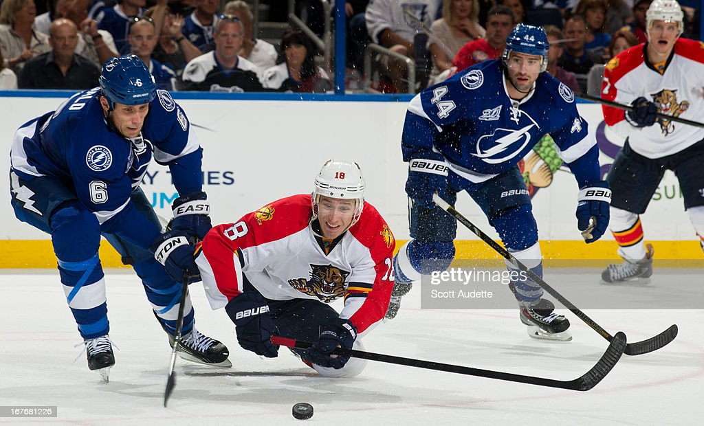 <a gi-track='captionPersonalityLinkClicked' href=/galleries/search?phrase=Sami+Salo&family=editorial&specificpeople=206132 ng-click='$event.stopPropagation()'>Sami Salo</a> #6 of the Tampa Bay Lightning fights for control of the puck with Shawn Matthias #18 of the Florida Panthers during the second period of the game at the Tampa Bay Times Forum on April 27, 2013 in Tampa, Florida.