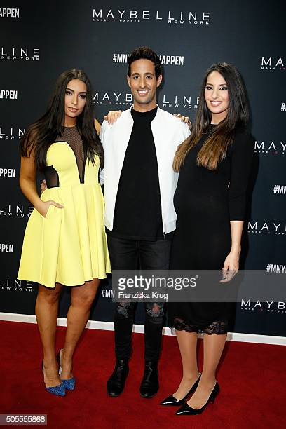Sami Slimani and his sisters Lamiya Slimani and Dounia Slimani attend the 'The Power Of Colors MAYBELLINE NEW YORK MakeUp Runway' show during the...