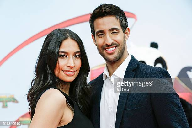 Sami Slimani and Lamiya Slimani attend the 'Kung Fu Panda 3' German Premiere at Zoo Palace on March 02 2016 in Berlin Germany
