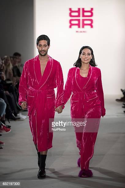 Sami Slimani and Lamiya Slimani run the runway at the Riani show during the MercedesBenz Fashion Week Berlin A/W 2017 at Kaufhaus Jandorf in Berlin...