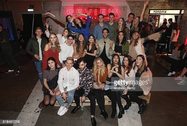 Sami Slimani poses for a team photo with online influencer during the REVIEW by Sami Slimani Capsule Collection launch party on March 31 2016 in...