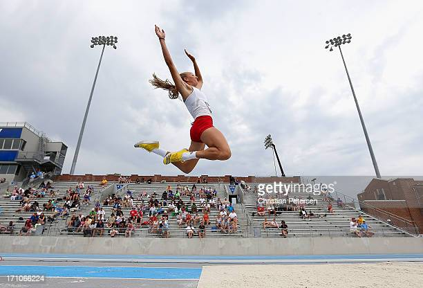 Sami Spenner competes in the Women's Long Jump portion of the Heptathlon on day two of the 2013 USA Outdoor Track Field Championships at Drake...