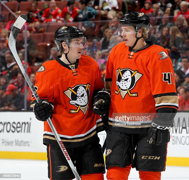 Sami Vatanen and Hampus Lindholm of the Anaheim Ducks talk during the game against the Chicago Blackhawks on November 27 2015 at Honda Center in...